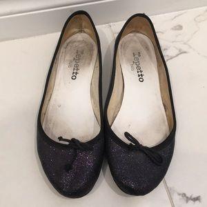 Repetto Purple Glitter Flats Size 38